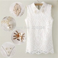 2014 High Quality Fashion New Sweet  Women's Embroidery Lace Turn-down collar Handmade beaded Diamond Beading Vest Shirt T8060