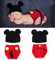 Mickey Baby Hat with Diaper Cover Set Photography Props for Newborn Handmade Crochet  Animal Beanie Costume 1set H048