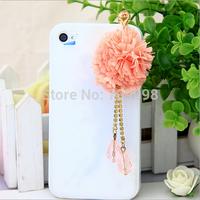 Free Shipping dust plug 3.5mm cloth flower fringed mobile phone dustproof plug - wholesale