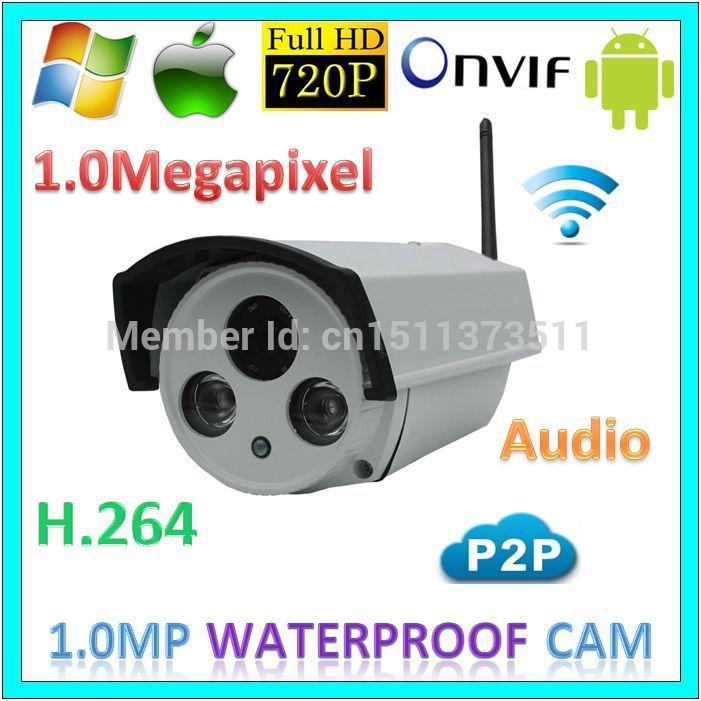 720p wifi P2P Security System Infrared Illuminator Digital Camera CCTV Audio Wireless Outdoor 1.0MegaPixel Network IP Webcam(China (Mainland))