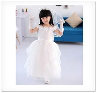 Kids 2014 summer children's princess Wedding Party  Flower Girl Dresses white flower collar cap sleeve long vestido de daminha