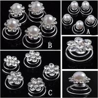 Wholesale 60pcs/lot Free Shipping Crystal Rhinestone Pearl Hair Twists Spins Pins. Bridal Hair Pins. Party Hair Accessories