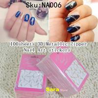 100Sheets/lot New 2014 Gold & Silver Zipper Design 3D Nail Art Decals Adhesive Nail Sticker On The Nail Supplies DIY Tools NA006