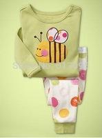 bees pattern , Free Shipping,Baby boys girls Pure Cotton long sleeve T-shirt+pant pajamas /clothing set  6pcs/lot