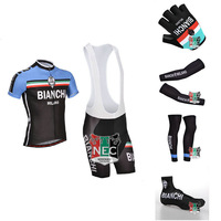 Unique Men's Cycling Kit BIANCHI BLACK maillot Short Sleeve Cycling Jersey+Bib Shorts+ Gloves + Sleeves + Legwarmers + Overshoes