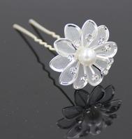 Free Shipping 30pcs Crystal Metal Flower+Pearl Hair Pins Wedding party Bride hair grips Woman Girls