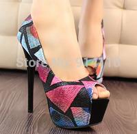 FREE SHIPPING 2014 LD-P1748 Korea PeepToe Nightclub Fashion Candy 14.5CM Ultra High heel Pumps Platform Weddding/Party Shoes
