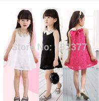 Free Shipping! New 2014 Summer girls dress,golden doll collar princess dress,Children lace dress,kids noble fairy dress