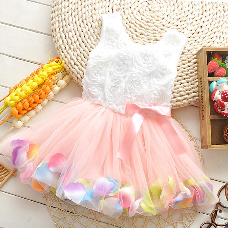 Free shipping! 2015 summer girls dress girls rose petal hem dress color cute princess dress girls baby dress 1-5 years(China (Mainland))