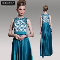 Dorisqueen 31009 A-line emerald green Applique Beaded Long Evening Dress Party 2014 Formal Evening Dresses Prom Gowns Bowknot