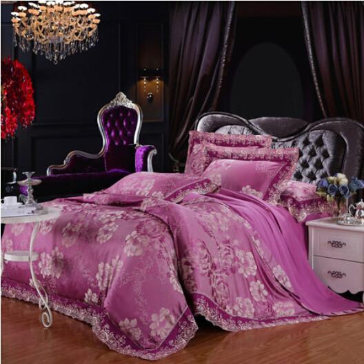 S&V Super Fashionable European style bedding set 100% cotton satin jacquard bedclothes lace decoration bed linen wedding 4pcs(China (Mainland))
