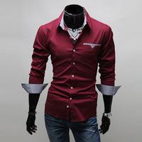 2014 New Fashion Long Sleeve Men Shirt Korean Slim Design Formal Casual Male Dress Shirt Solid Color Stripe Leisure Shirt Men