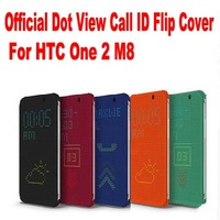 10pc/lot HK Post Free Newest Fashion Official Design Dot View Call ID Flip Cover For HTC One 2 M8 No: M809