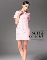 Elegant Ladies' Fashion Embroidery Dress Women Wear to Work Slim Knee-Length Pocket Party Bodycon Dress free shipping 2014