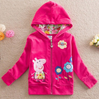 Baby Girls Fashion Embroidery Hoodies Jackets,Outerwear&Coats,Children's Peppa Pig Coat,Spring Autumn Kids Coat Girls 5PCS/LOT