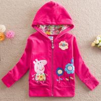 Baby Girls Fashion Embroidery Hoodies Jackets,Outerwear&Coats,Children's Peppa Pig Coat,Spring Autumn Kids Coat Girls 5PCS/LOT