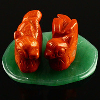 "1.5"" Carved Red Jasper Stone Mandarin Duck Statue Figurine Decoration Art & Collectibles Wedding Gift Crafts Wholesale"