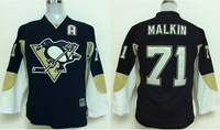 Youth Pittsburgh Penguins 71 Evgeni Malkin  home black children's Ice Hockey Jerseys kids size S/M L/XL