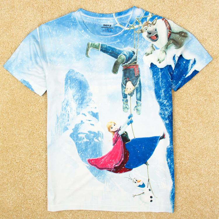 NA-21, Frozen story, Children girls T shirt, 3D image, short sleeve cartoon T shirt.(China (Mainland))