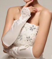 2014 White Bridal Gloves Fingerless Appliques Lace Elbow Length Wedding Accessories Prom Evening Gloves 8a32c8