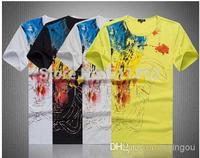Top Quality Men's Cotton Short Sleeve Shirts Black,White,Grey,Yellow Colors T-Shirt~Size: M-- XXL 6021