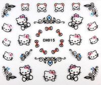 Nail Art 3D Nail Stickers Black Hello Kitty with Rhinestone 12 Styles Cartoon Decals 100pcs/Lot New 2014 Free Shipping