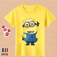 New 2014 Cartoon Anime Figure Despicable Minions Clothes Minion Costume Kid Clothes Children T-shirts Girls/Boys' T-shirt 31082