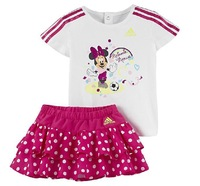 Free shipping 2014 summer new girls Minnie Mouse T-shirt designs skirt suit