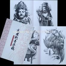 Free Shipping WENJUN TATTOO Flash China A4 sketch Book Buddha Lion Beast Elephant KOI Dragon