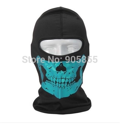High Quality Blue Sky Reflective Skull Helmet Motorcycle Paintball Cycling Balaclava Hood Neck Scarf Full Face Protector Mask(China (Mainland))