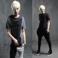 2014 male faux two piece t-shirt slim cutout short-sleeve T-shirt t118 p55