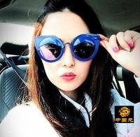 Free shipping women's Anti-UVA Anti-UVB sunglasses round sunglasses Catwoman on behalf of fake eyelids