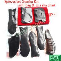8pcs/set good quality Traditional Acupuncture Massage tool Gua sha kit 100% ox Horn gift beauty bag & guasha chart