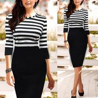 New 2014 Women Pinup Striped Tunic Party OL Shift Sheath Midi Pencil  Dresses Slim Dress 5 Size S-XXL