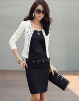 2014 New Fashion Women's jacket spring summer  women coat with rivet for lady's blazer spring coat Plus size S M L /5017