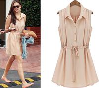 New 2014 Fashion Women's Dress Summer Turn-down Collar Sleeveless Chiffon Dress Elegant Single-Breasted Solid Lady Casual Dress