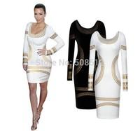 DS-D004  Women's sexy long sleeve ponte roma dress, elegant slim ELASTIC sheath dress, kardashian dress