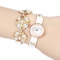 2014 New Fashion PU Leather Strap Wristwatch Golden Case Wrap Watches Dress Women Rhinestone Watch