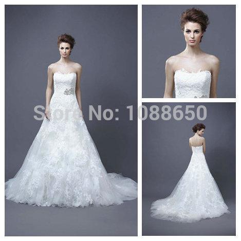 Elegant Strapless A Line Floor Length Wedding Dresses 2014 New Designer Lace Gowns Custom Made A111(China (Mainland))