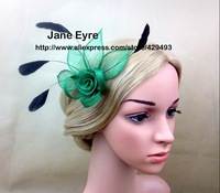 Free Shipping HOT sinamay fascinator flower in SPECIAL shape with black feathers, TOP grade workmanship, 3 color