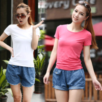2014 summer female slim basic shirt solid color tight t-shirt plus size female short-sleeve t-shirt 813