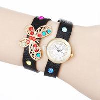 2014 New Fashion PU Leather Strap Wristwatch Golden Case Wrap Watches Butterfly Dress Women Rhinestone Watch