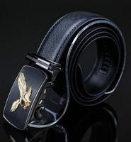 2014 Hot sale men's genuine black leather belts brand automatic Buckle fashion Jesus belt cinto  free shipping