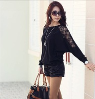 2014 Summer new  fashion Women's Chiffon Loose long lace Batwing sleeve Shirts plus size Blouse S M L XL XXL
