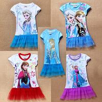 wholesale 60pcs Cartoon Girls Kids Princess Frozen Queen Elsa Anna T-Shirt One-piece Dress via Express free shipping