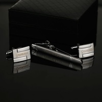 CT-002B Personalized  Engraved Cufflinks and Tie Clip Sets with Gift Box  New Fashion  High Quality   cufflinks tie clip set