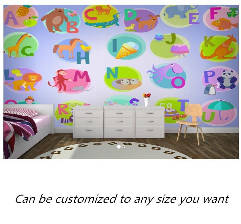 Free shipping custom mural alphabet nursery wallpaper for Alphabet mural nursery