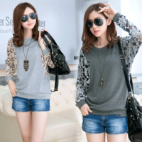 2014 spring long-sleeve loose plus size women's top lace patchwork batwing sleeve t-shirt 8083