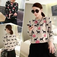 2014 New autumn & winter European style Rose & Unicorn pattern Knitted Sweater Women's pullovers comfortable ladies tops/WTL