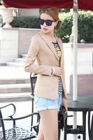Free shipping 2014 autumn new hot fashion casual jacket Slim V-neck long-sleeved black jacket white blazer XL XXL